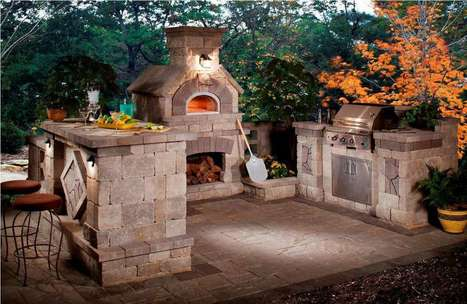Stone Outdoor Kitchen With Outdoor Fireplace And Stone Dining Table   Rhinway- home design   Scoop.it