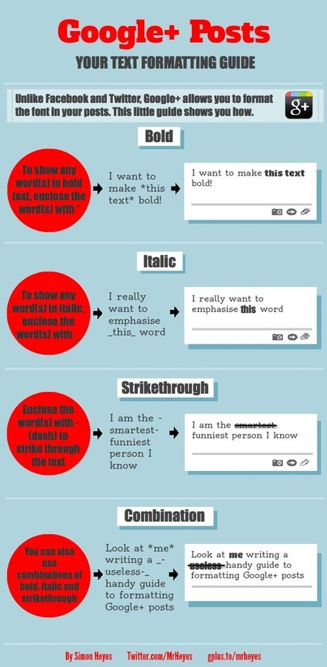 HANDY Infographic for Google+ Users:  Text Formatting Made Easy | Social Media Butterflies | Scoop.it