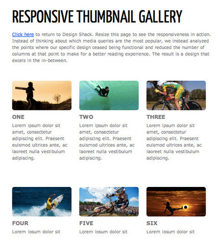 How to Build a Responsive Thumbnail Gallery | Design Shack | Coding (HTML5, CSS3, Javascript, jQuery ...) | Scoop.it
