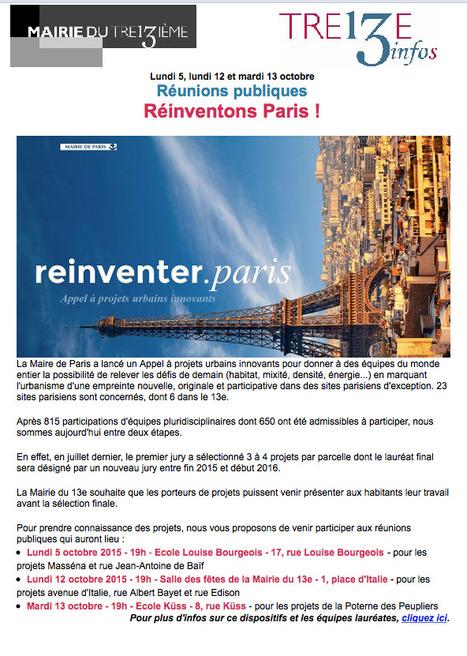 Réinventons Paris ! : Réunions publiques Lundi 5, lundi 12 et mardi 13 octobre | URBANmedias | Scoop.it