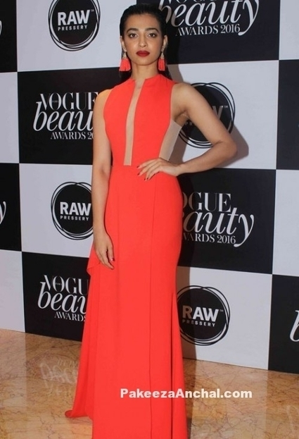 Radhika Apte in orange Coral gown by Gauri & Nainika   Indian Fashion Updates   Scoop.it