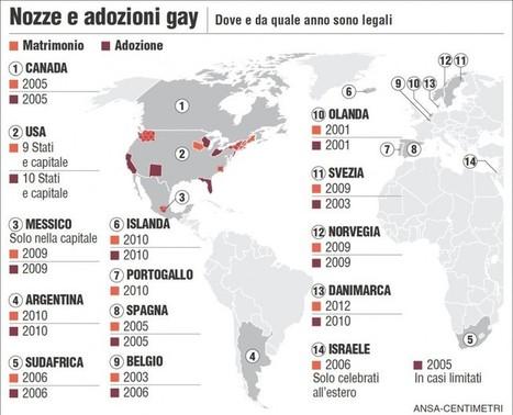 Le nozze e le adozioni gay nel mondo - Giornalettismo | QUEERWORLD! | Scoop.it