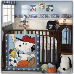 snoopy sports baby crib bedding baby bedding. Black Bedroom Furniture Sets. Home Design Ideas