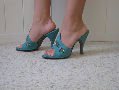 60s aqua leather Springolators with beading | Antiques & Vintage Collectibles | Scoop.it