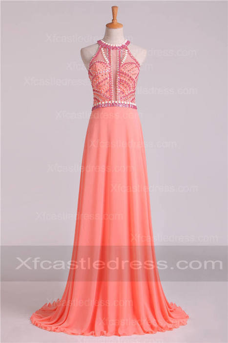 2017 Beaded Long Coral Prom Dresses with Halter Neck LOXF52 | women fashion dresses | Scoop.it