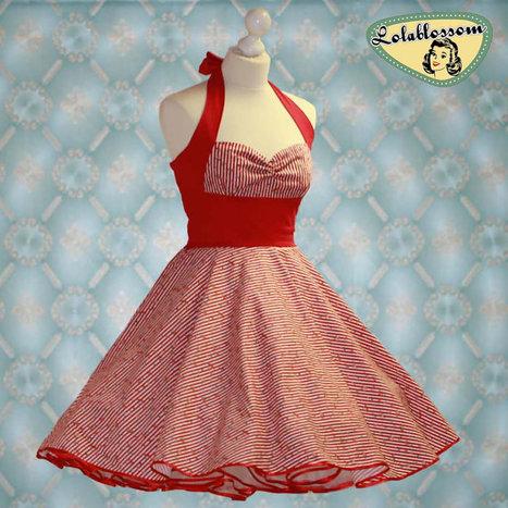 50's vintage dress full skirt in stripes with flowers | Vintage! | Scoop.it