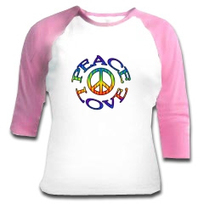 Un T-Shirt baseball Peace and Love color pour elle | Féminissime | Scoop.it
