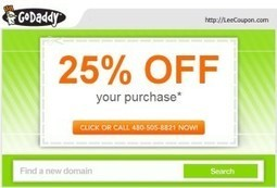 GoDaddy promo coupon codes in January 2014: save 25% off your order !!   Lee's Coupon   GoDaddy promo coupon codes for domain, hosting or renewal, never expires   Scoop.it