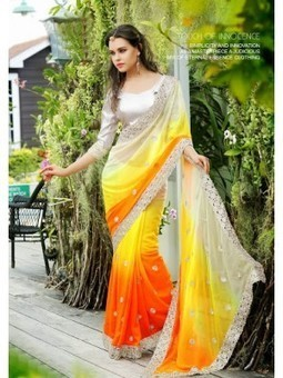 Shop Online Latest Vikruti Orange and Yellow Faux Georgette Saree DN.23399 | Online Shopping | Scoop.it