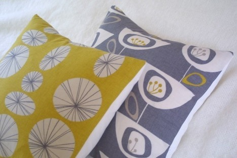 Connections yellow retro pillow cushion cover by ThirtyfiveFlowers | homedecor | Scoop.it
