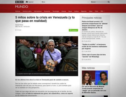La BBC reconnaît qu'il y a « des représentations exagérées et des mythes » à propos de la crise au Venezuela | Venezuela | Scoop.it