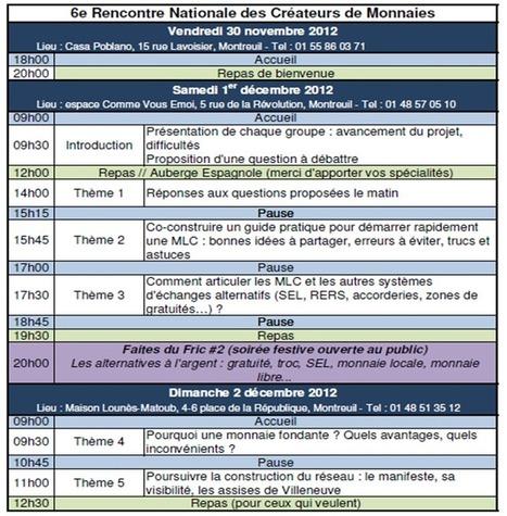 Le programme de la 6ème rencontre   Monnaies locales complémentaires (MLC)   Monnaies En Débat   Scoop.it