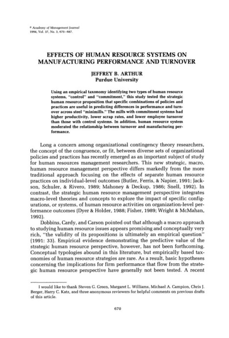 JSTOR: The Academy of Management Journal, Vol. 37, No. 3 (Jun., 1994), pp. 670-687   Performance Management   Scoop.it