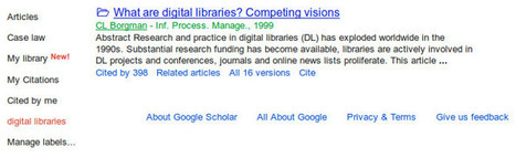 Library, nueva funcionalidad de Google Scholar | CienciaDocumental | Scoop.it
