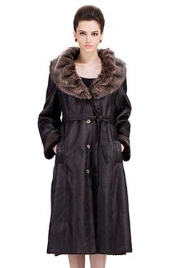 Dark coffee suede with faux dark brown mink fur long suede coat | Comfortable faux fur coat fashion | Scoop.it