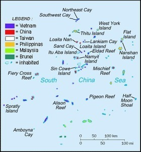 """Spratly Islands Map. Just in case anyone is wondering, """"where are the Spartlys"""" 