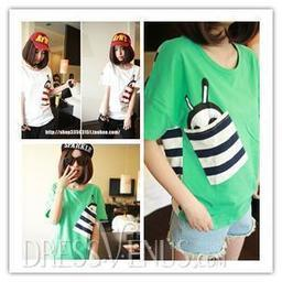 New Arrival Loose Leisure Short Sleeves Pockets Striped T-shirt | fashion | Scoop.it