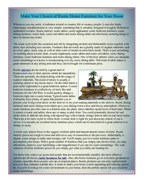 Rustic Furniture for Sale | Rustic Furniture for Sale | Scoop.it
