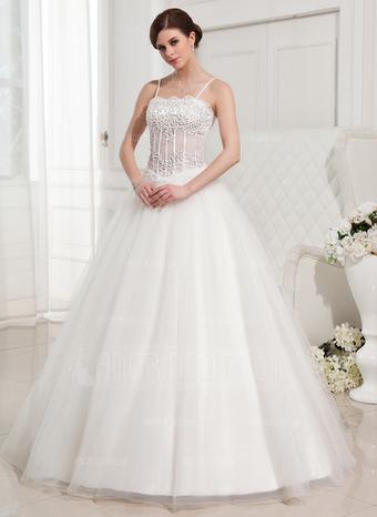 Fairy Ball-Gown Floor-Length Satin Tulle Wedding Dress   wedding dress   Scoop.it