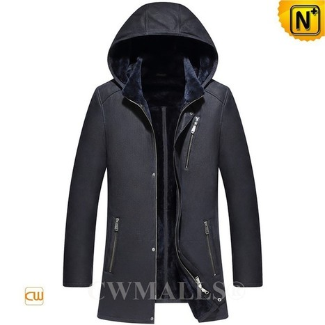 CWMALLS® Sheepskin Leather Jacket with Hood CW836522 | Leather Trench Coat | Scoop.it