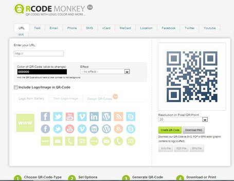 Create QR-Codes with Logo or Image fast, free & easy | QRCode-Monkey-Generator | A Educação Hipermidia | Scoop.it