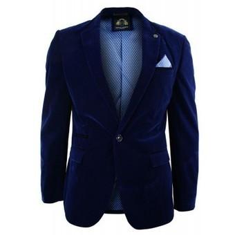 Mens Velvet Royal Blue Blazer Jacket Slim Fit Smart Casual Navy Trim | Mens clothing | Scoop.it