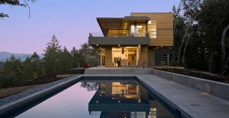 Maison contemporaine bois et b ton nich - Maison bois et beton ...