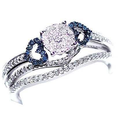 10K White Gold Bridal Set 0.34ctw With Blue Diamond Hearts... | Jewelry Mall | Scoop.it