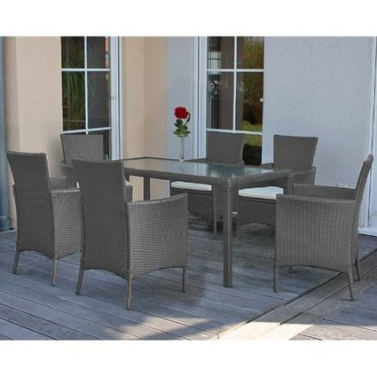###   Poly-Rattan Garten-Garnitur Esszimmer-Set RomV, 6 Sessel+Tisch ~ grau | Günstig Gartenmöbel Set | Scoop.it