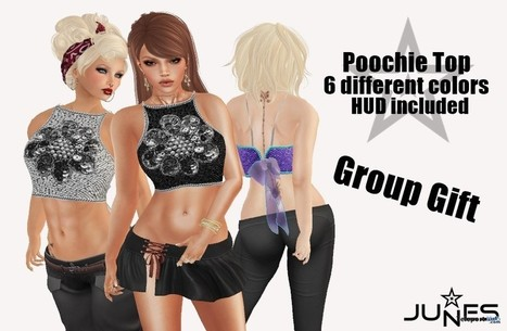 Poochie Top with HUD Group Gift by JUNES | Teleport Hub - Second Life Freebies | Second Life Freebies | Scoop.it