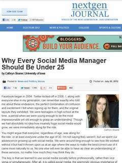 Why Every Social Media Manager Should Be Under 25...NOT! | Growing the Online Campus | Scoop.it