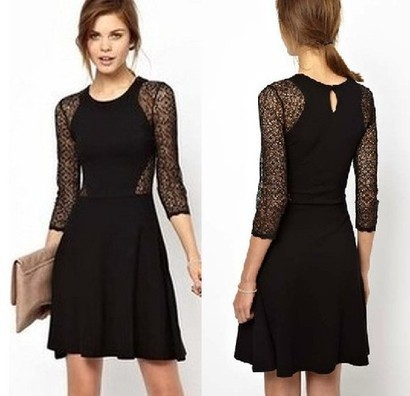 Black Contrast Lace Hollow Long Sleeve Ruffle Dress from yourfashionsandcute | bebpiloo | Scoop.it