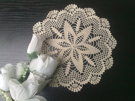 Round Ecru Crochet Doily 10 inches, Homedecor, Cottage Chic | Crochet Miracles Shop on Etsy | Scoop.it