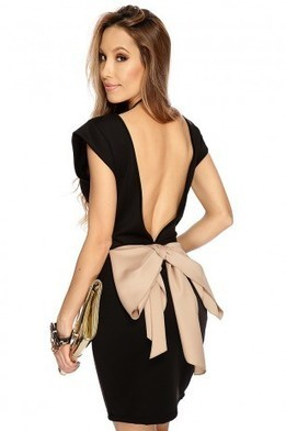 Mocha Black V Back Bow Accent Sexy Dress   The Season's Hottest Styles from Pink Basis   Scoop.it