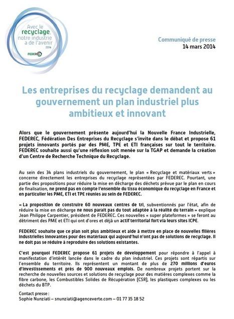 Les entreprises du recyclage demandent au gouvernement un plan industriel plus ambitieux et innovant | Federec | Actualités FEDEREC | Scoop.it