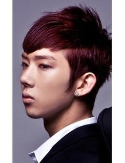 Korean Hairstyle For Men In Red Violet Hair Color With Mohawk Style  Mens Ha