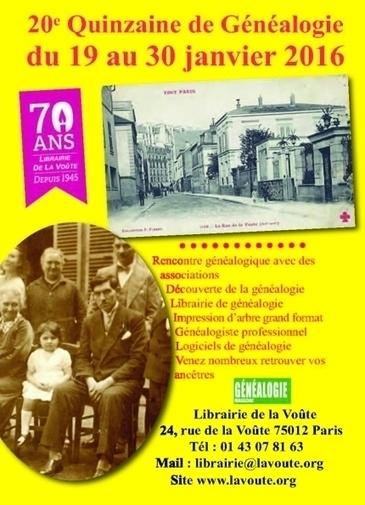 20e Quinzaine de généalogie à la Librairie de la Voûte | CGMA Généalogie | Scoop.it