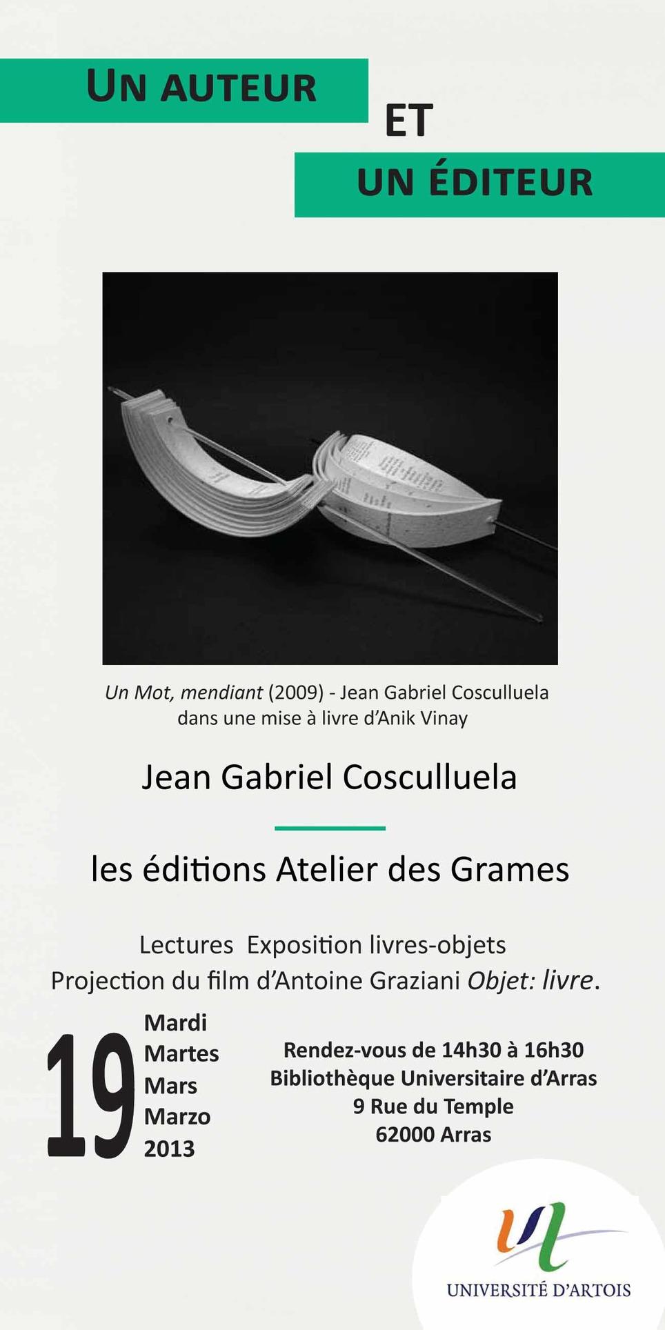 Jean Gabriel Cosculluela, Arras, le 19 mars 2013 | Poezibao | Scoop.it