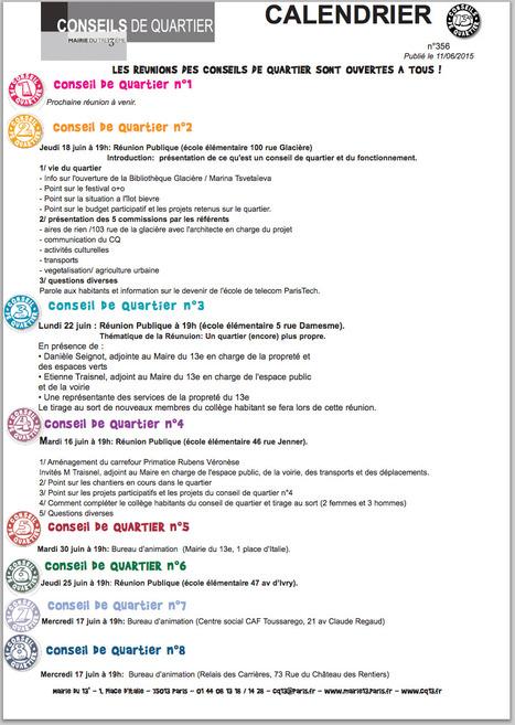 PARIS XIIIème: LES REUNIONS DES CONSEILS DE QUARTIER SONT OUVERTES A TOUS ! | actions de concertation citoyenne | Scoop.it