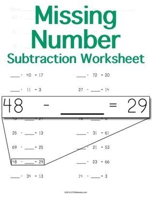 Subtraction Worksheet Maker - Missing Number | Math Worksheets and Flash Cards | Scoop.it