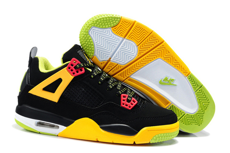 Retro 4 Jordan Brand Black/Yellow/Green Color For Kids | my love list | Scoop.it