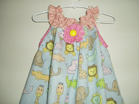 Sweet Little Handmade Girls Sundress with pockets.embellishments cute elephant, giraffe, lion. gator print Pink and Yellow Accents SIZE 4 | Cool Stuff | Scoop.it