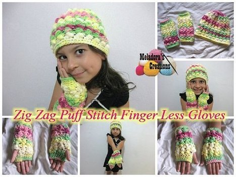 Zig Zag Puff Stitch Finger less Gloves – Free Crochet Pattern | FREE Crochet Patterns | Scoop.it