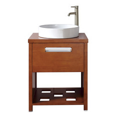 Shop Avanity Cosmo 24-in x 19-in Chestnut Single Sink Bathroom Vanity with Wood Top at Lowes.com | Ashley's Interior Design ideas | Scoop.it