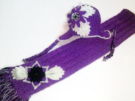 Handmade Crochet Earflap Hat and Scarf Set ,Custom Designed Crochet Flower, Crochet Hat for Girls | Crochet Miracles Shop on Etsy | Scoop.it