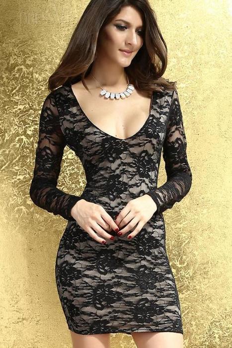Black Round-Neck Sexy Lace Dress | Dressve fashion | Scoop.it