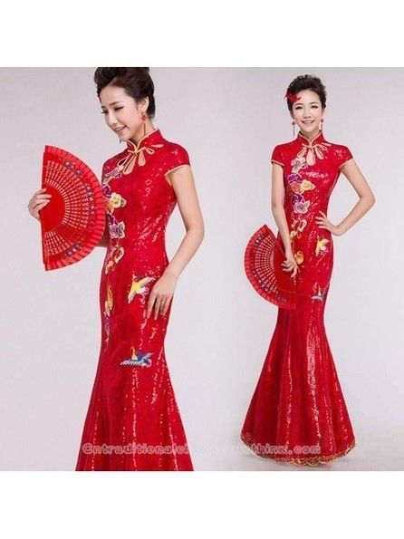 Embroidered floral red sequins mandarin collar modern qipao floor length mermaid Chinese cheongsam bridal wedding dress - Cntraditionalchineseclothing.com | Press Release from dressmebridal.co.uk | Scoop.it