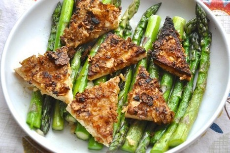 kettle chip crusted buttermilk tofu with garlic asparagus | the tolerant vegan | My Vegan recipes | Scoop.it
