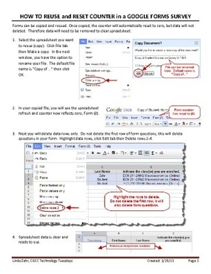marymac / HOW TO REUSE and RESET COUNTER in GOOGLE FORMS.pdf | TELT | Scoop.it