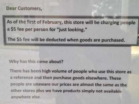 Store Charges Customers $5 'Just Looking' Fee To Combat Showrooming   Digital-News on Scoop.it today   Scoop.it